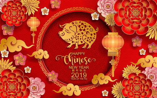2019 new year of pig year chinese styles design vector 04 free download