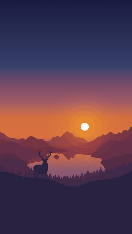 Simple Sunset : simple, sunset, Simple, Sunset, Scenery, Vector, Illustration, Download