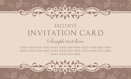 invitation card template design vintage