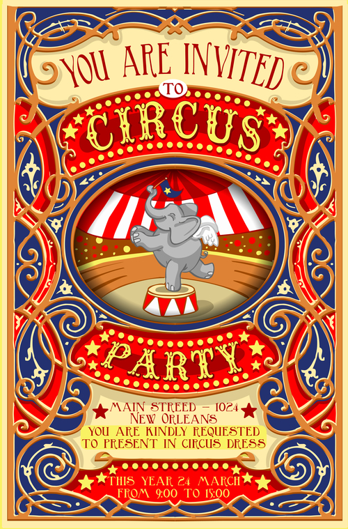 Circus Party Flyer With Poster Template Vector 01 Free