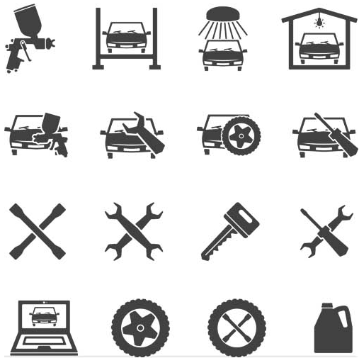 Car Service Icons Set vector free download