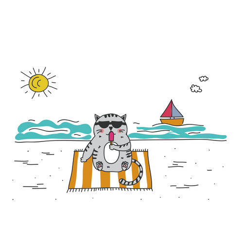 Cartoon Animal Cat Leisure Vacation Beach Vector 02 Free Download