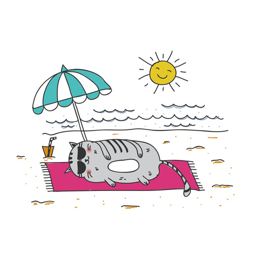 Cartoon Animal Cat Leisure Vacation Beach Vector 03 Free Download