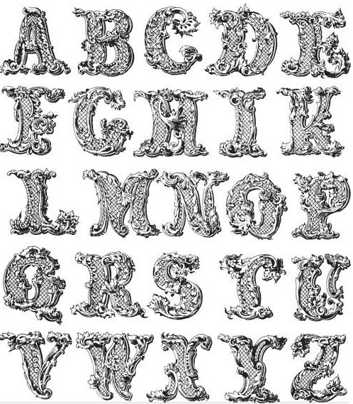 ornament alphabet vectors material
