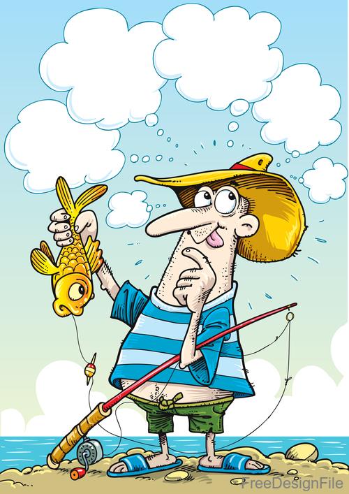 Fishing Pictures Cartoon : fishing, pictures, cartoon, Fishing, Cartoon, Funny, Vector, Design, Download