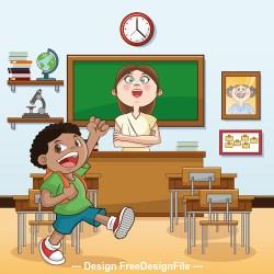 Teacher and elementary school student classroom cartoon illustration vector free download