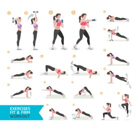 Female complete fitness action breakdown icon vector 03 free download
