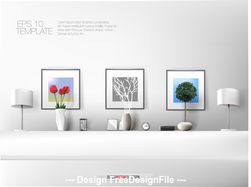 Living room decoration template vector free download