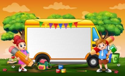 Children and school bus cartoon background vector free download