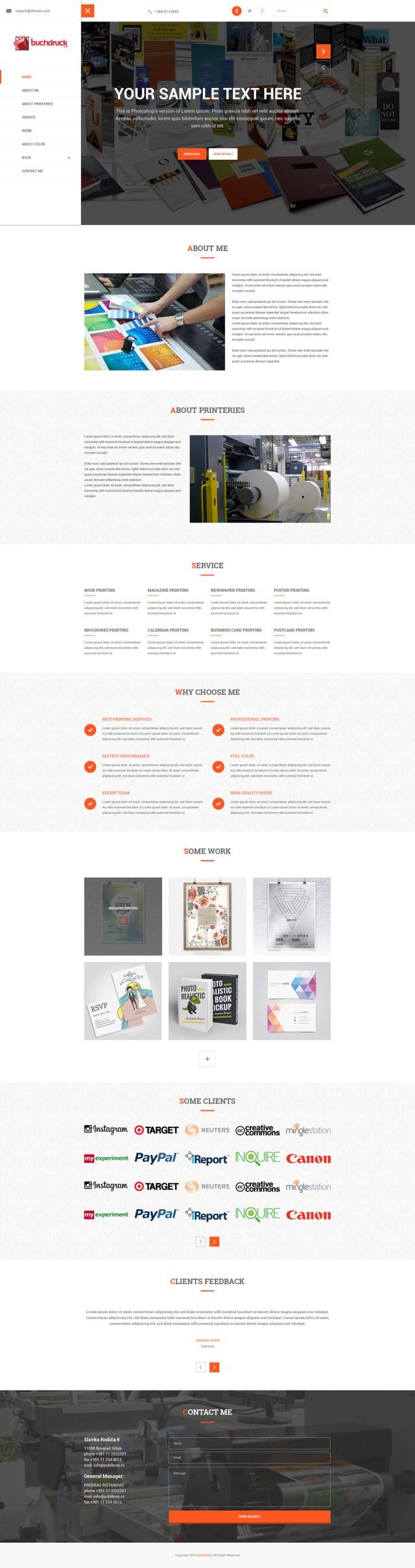 Print Company PSD Template