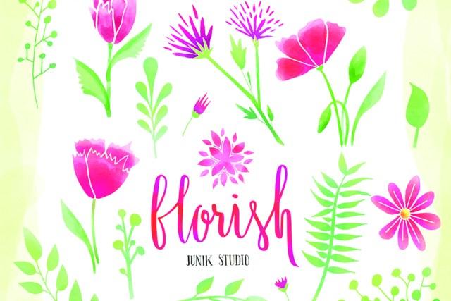 18 Free Watercolor Flower Elements