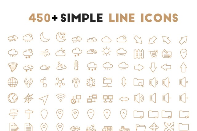 450+ Simple Oultine Icons
