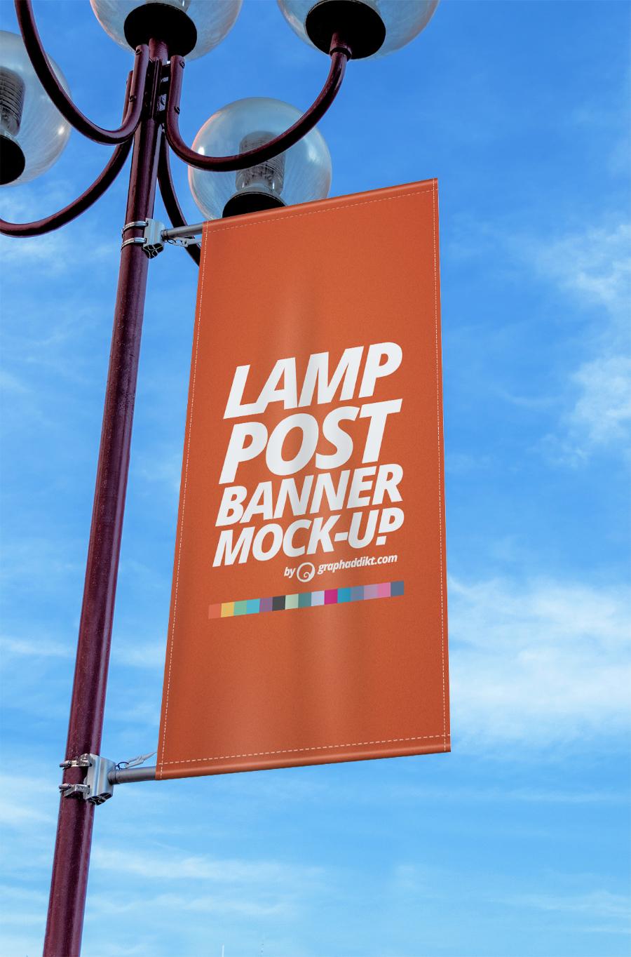 Free Lamp Post Banner Mockup  Free Design Resources