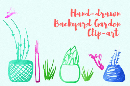 Hand-drawn Backyard Garden Clip Art