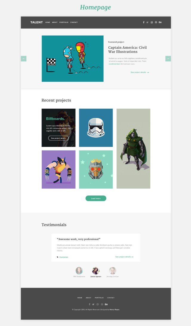 Talent - Free illustrator portfolio PSD Template