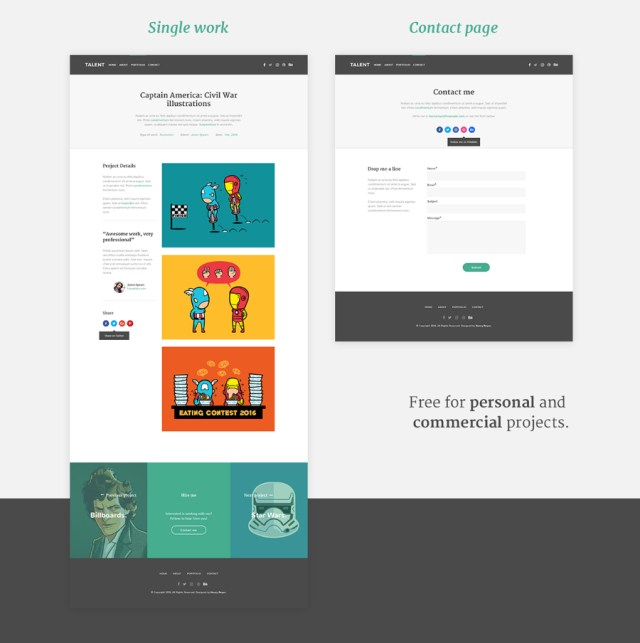 Talent Free PSD Template