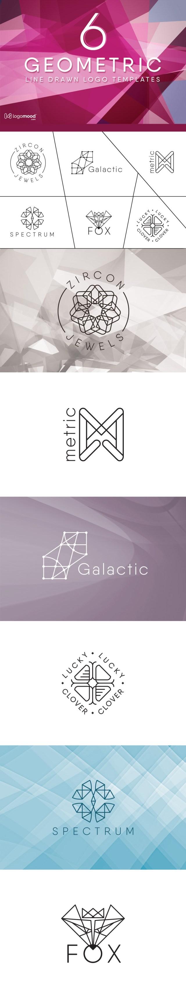 6 Free Geometric Line Drawn Logo Templates