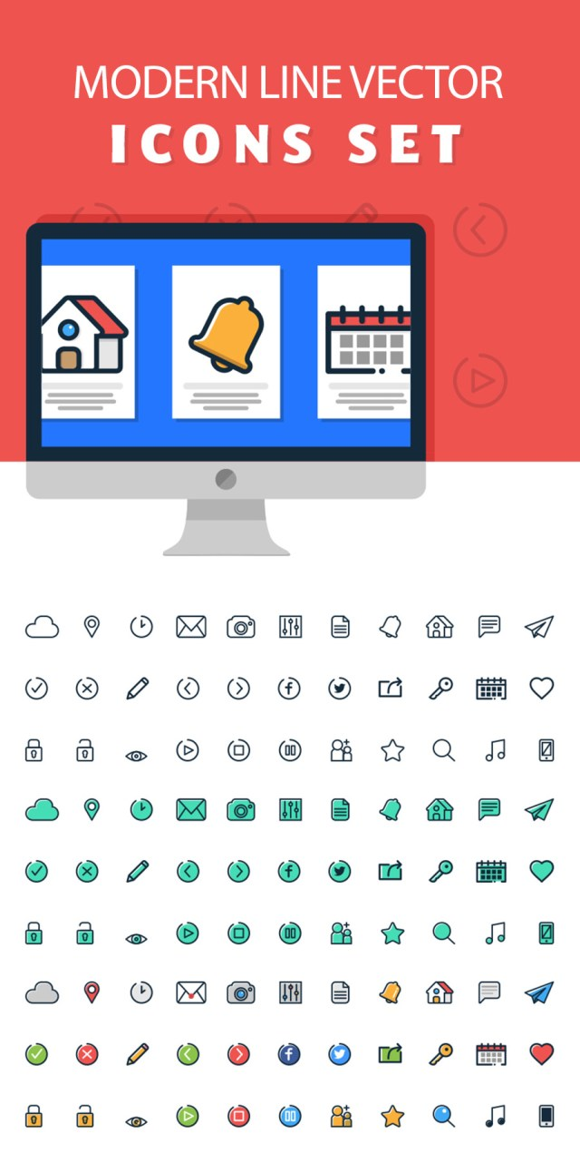 Modern Line Vector Icon Set