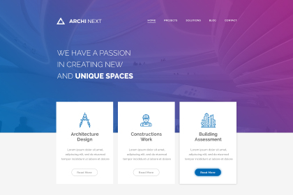 Archi Next Website Free PSD