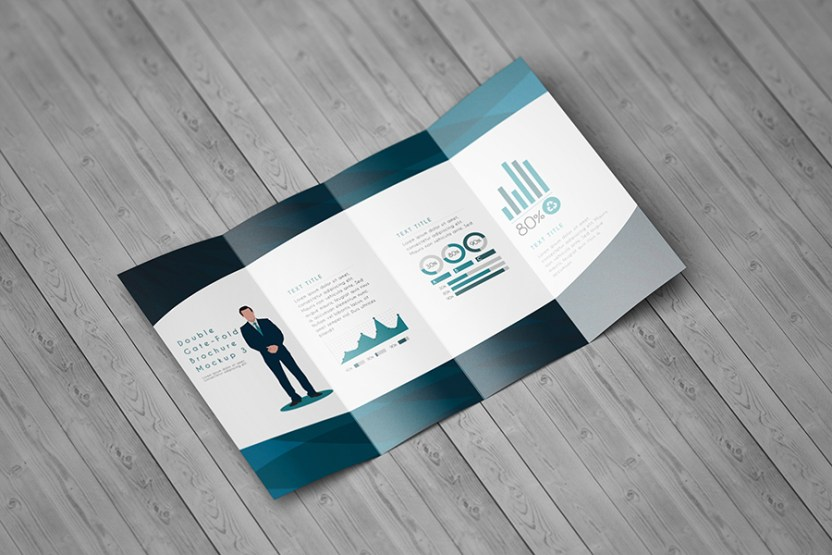 double gatefold brochure mockup free design resources