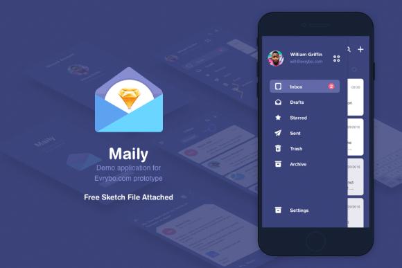 Maily Sketch UI Kit Free Demo