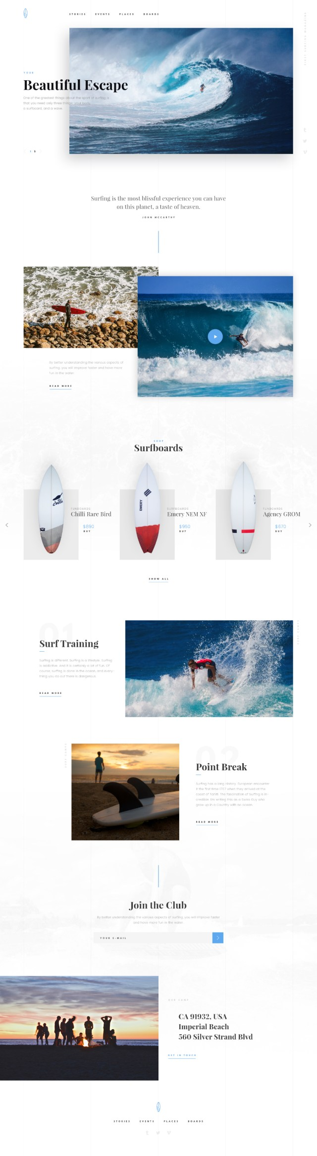 Surfing Free PSD Theme