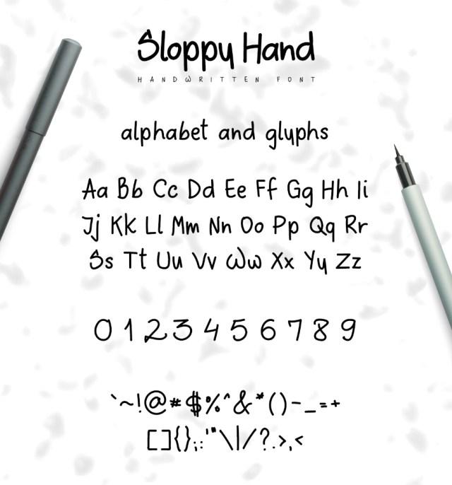 Sloppy Hand Free Typeface