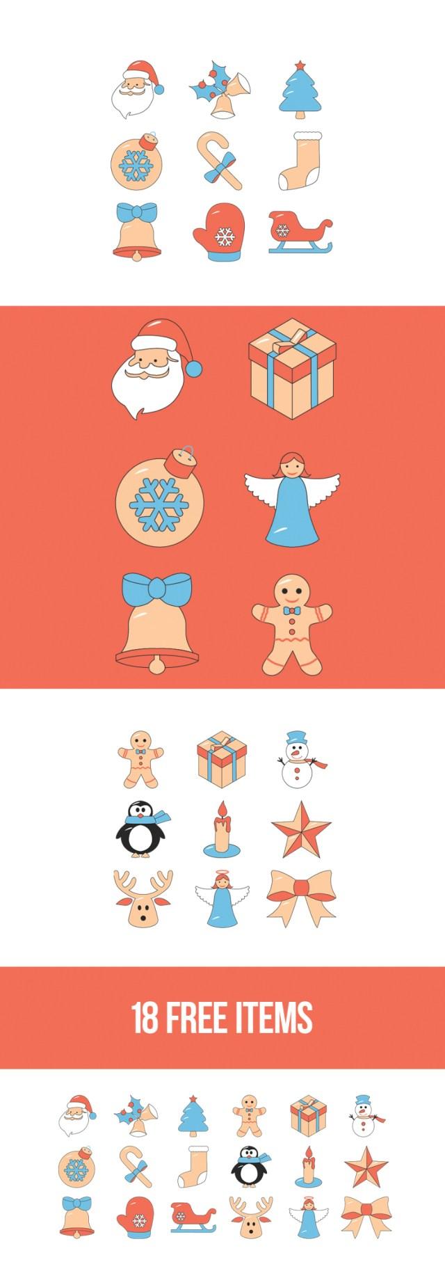 Free 18 Items Christmas Icon Set