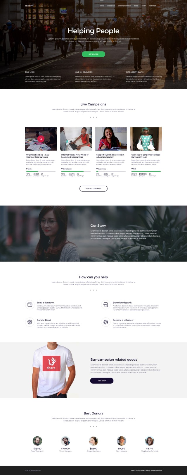 Charity Website Free PSD Template