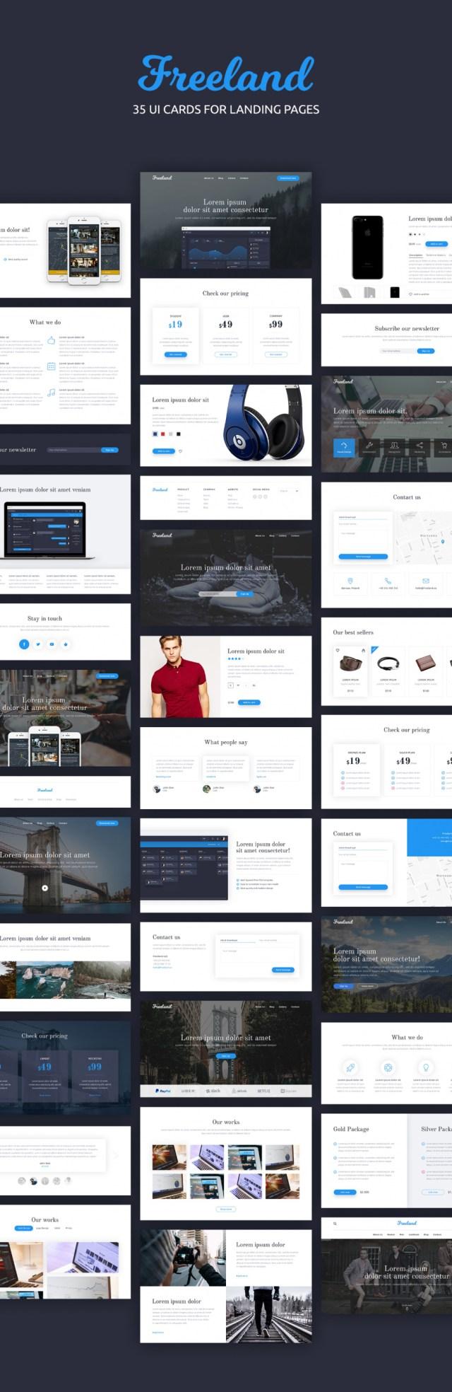 Freeland 35 Landing Pages UI Kit