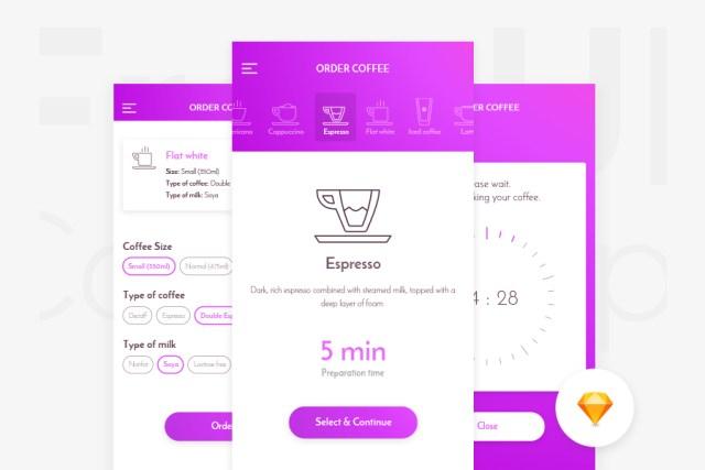 CaffeIn App UI Kit Free Sketch
