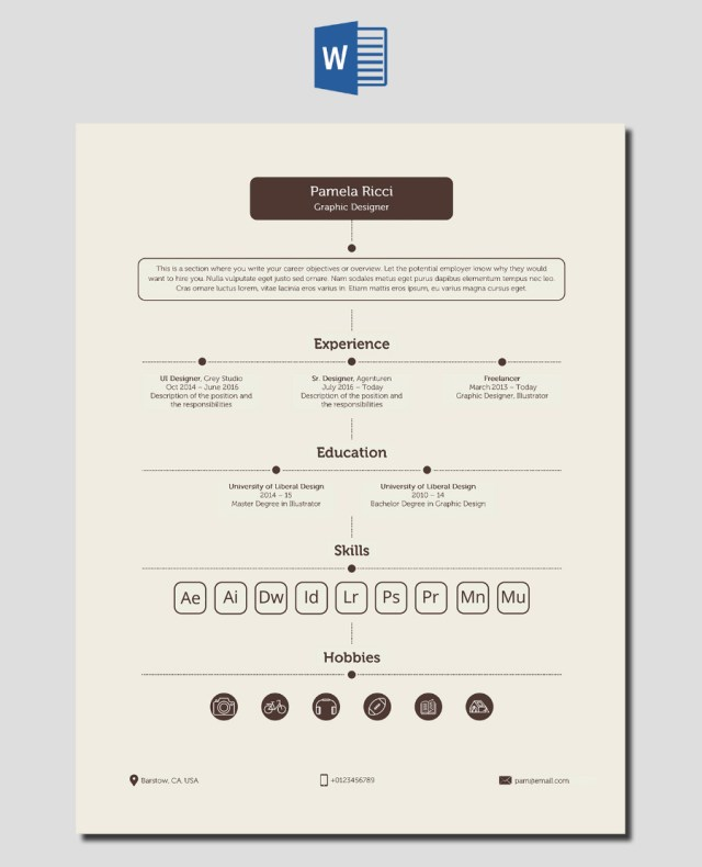 Free Shade Brown Resume Template