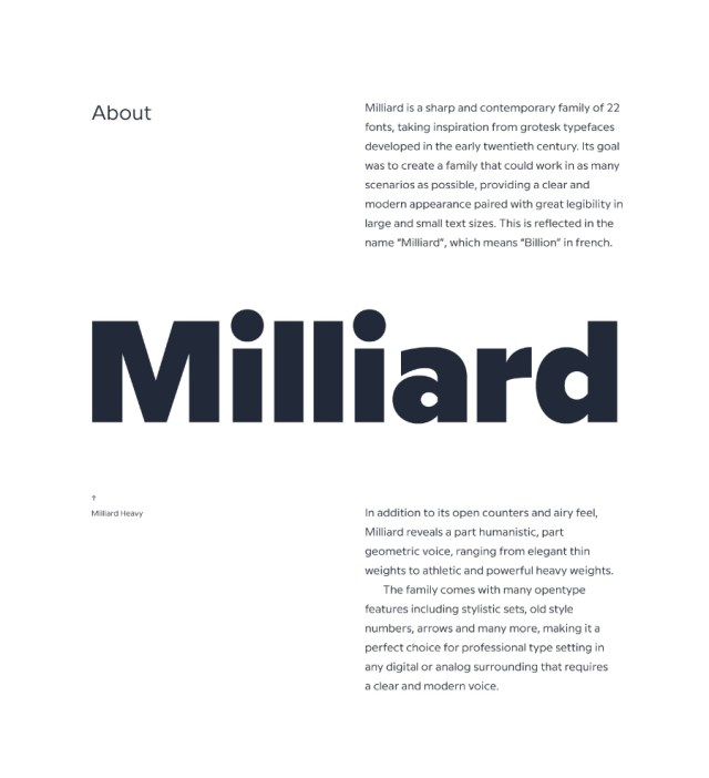 Milliard Sans Free Demo