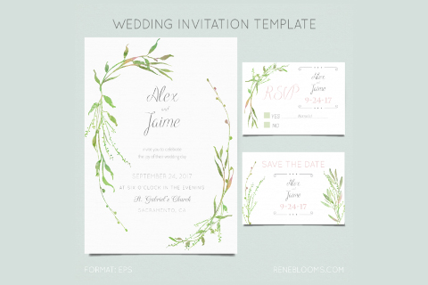 Leafy Wedding Invitation Template