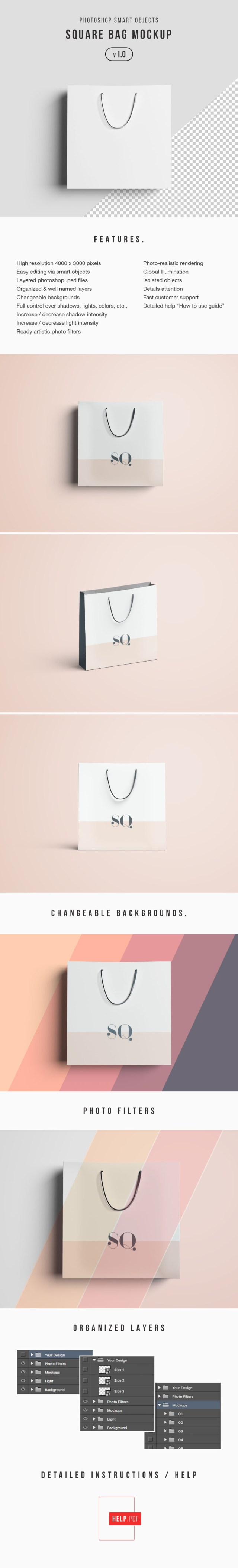 Free Square Shopping Bag Mockup
