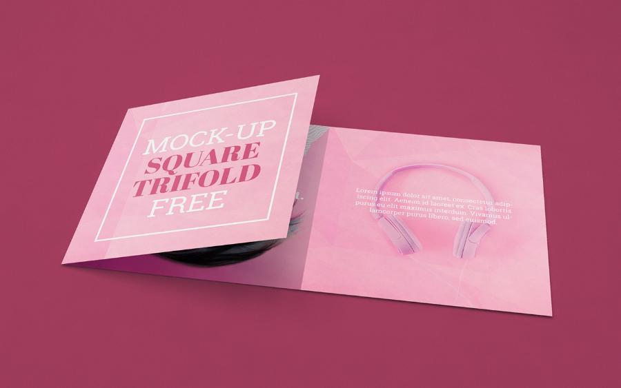 Free Square Tri-fold Mockup