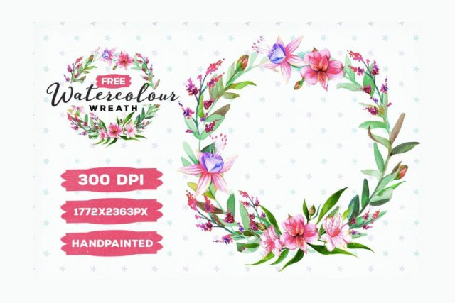 free watercolor floral wreath free design resources