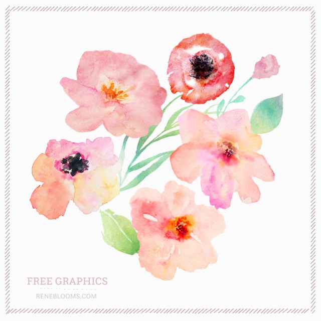 Free Spring Watercolor Flowers