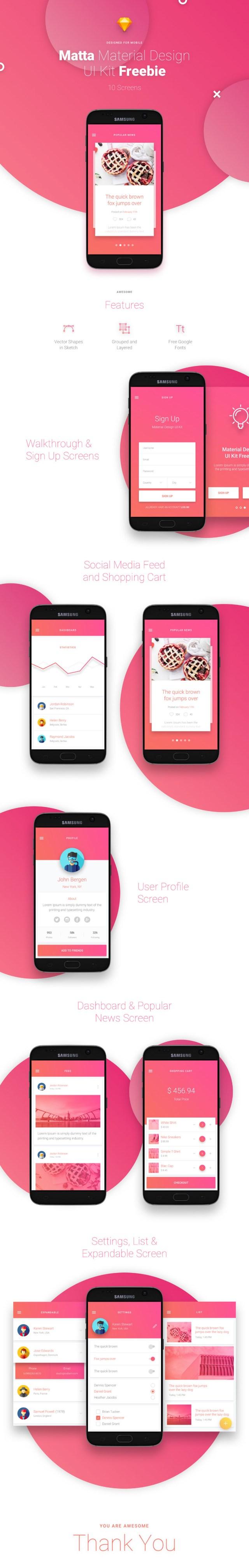 Matta Mobile UI Kit Free Version