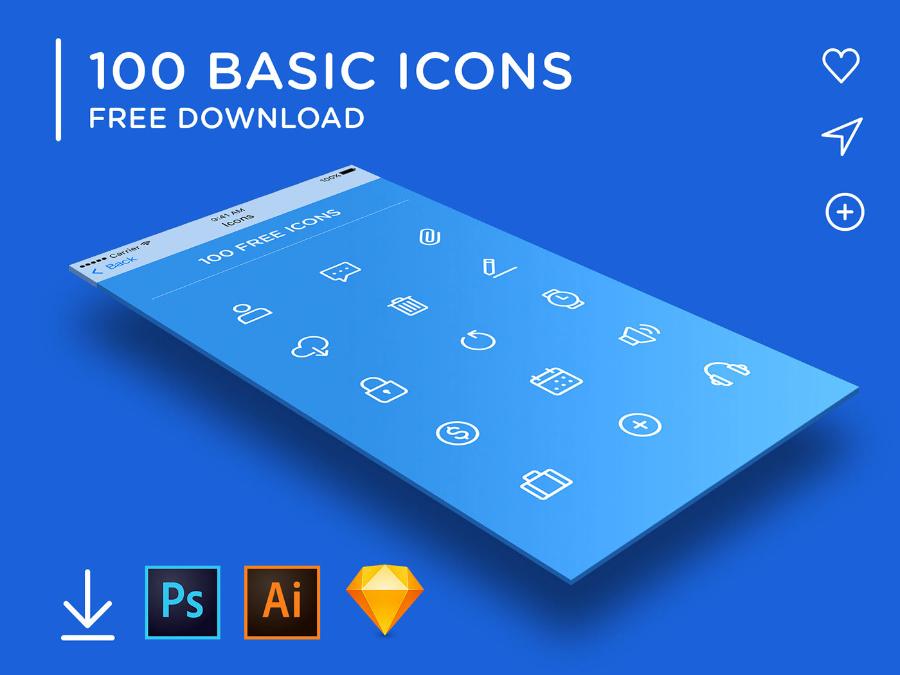 Free 100 Basic Linear Iconset
