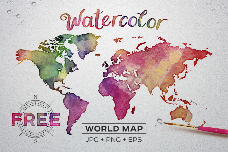 Free watercolor world map free design resources free watercolor world map gumiabroncs Gallery