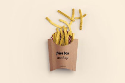 Free Fries Box PSD Mockup