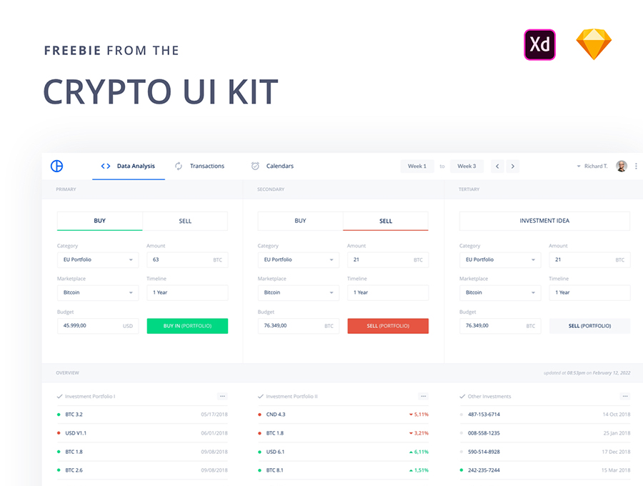 Crypto Free Sketch UI Kit