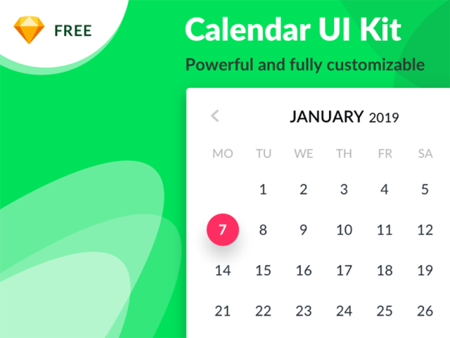 Free Calendar Sketch UI Kit
