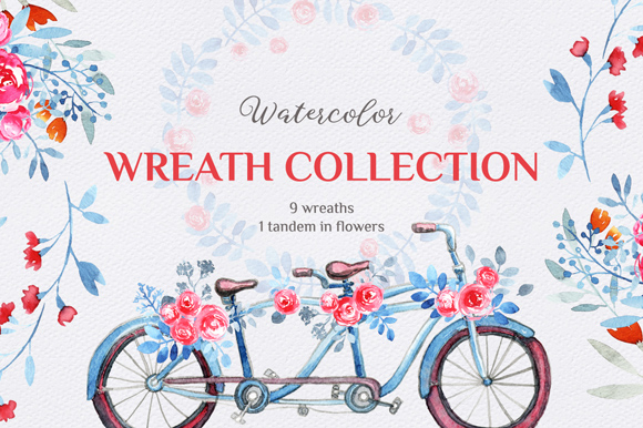 Free Watercolor Wreath Collection