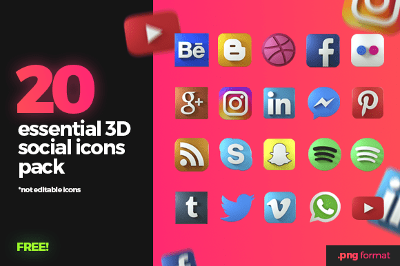 20 Essential 3D Social Icons Pack