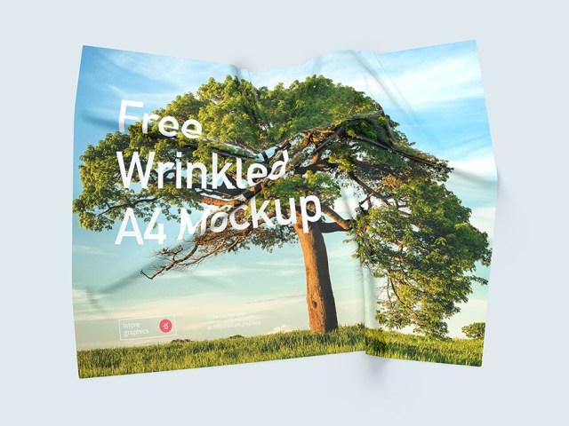 Free A4 Wrinkled Mockup