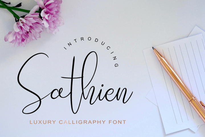 Sathien Calligraphy Font Demo