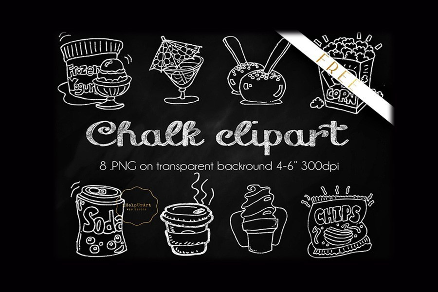 8 Free Chalky Food Cliparts