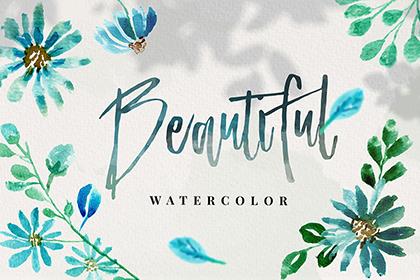 10 Blue Watercolor Flowers